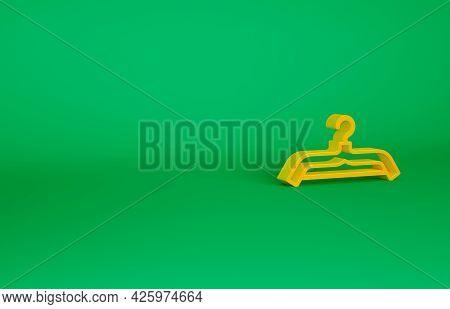 Orange Hanger Wardrobe Icon Isolated On Green Background. Cloakroom Icon. Clothes Service Symbol. La