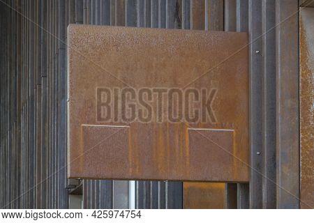 Modern Grunge Blank Rust Metal Mockup Template Signboard. Mock Up Of Store, Shop, Office, Bar Signag