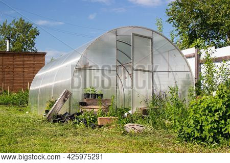 Homemade Glazed Wooden Greenhouse And Beds With Potatoes In The Vegetable Garden In Russia. Seasonal
