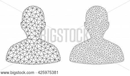Network Vector Person Profile Icons. Mesh Carcass Person Profile Images In Low Poly Style With Organ