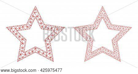 Mesh Vector Contour Star Icons. Mesh Carcass Contour Star Images In Lowpoly Style With Connected Tri