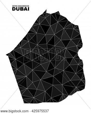Low-poly Dubai Emirate Map. Polygonal Dubai Emirate Map Vector Combined Of Randomized Triangles. Tri