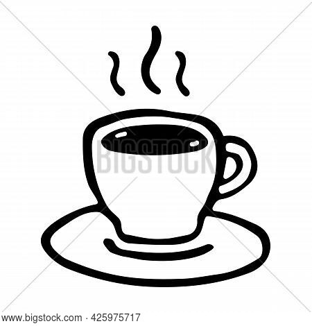 Coffee Cup Vector Icon In Doodle Style. Mug Of Hot Drink. Sign For Coffee Shop And Web-design. Illus