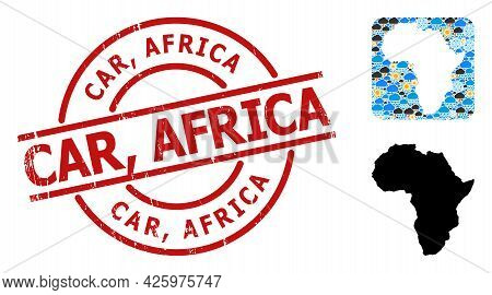 Climate Pattern Map Of Africa, And Scratched Red Round Car, Africa Stamp Seal. Geographic Vector Con