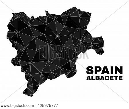 Lowpoly Albacete Province Map. Polygonal Albacete Province Map Vector Filled With Random Triangles.