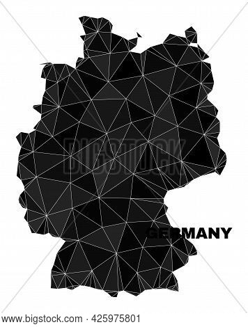 Lowpoly Germany Map. Polygonal Germany Map Vector Is Constructed Of Chaotic Triangles. Triangulated