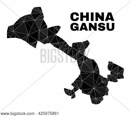 Lowpoly Gansu Province Map. Polygonal Gansu Province Map Vector Is Designed Of Scattered Triangles.