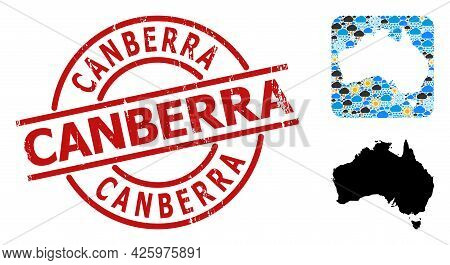 Climate Collage Map Of Australia, And Textured Red Round Canberra Badge. Geographic Vector Collage M