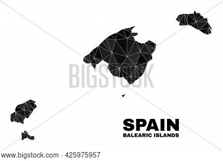 Lowpoly Balearic Islands Map. Polygonal Balearic Islands Map Vector Is Filled With Randomized Triang