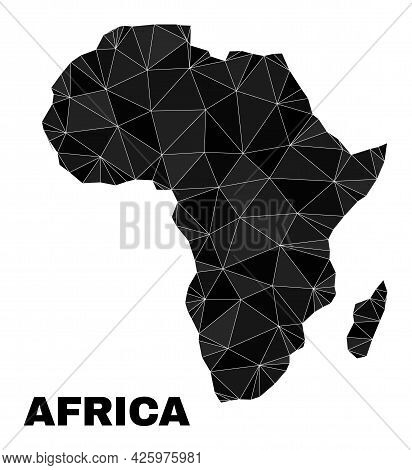 Lowpoly Africa Map. Polygonal Africa Map Vector Is Constructed From Chaotic Triangles. Triangulated