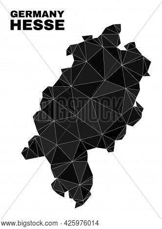 Lowpoly Hesse Land Map. Polygonal Hesse Land Map Vector Is Designed With Randomized Triangles. Trian