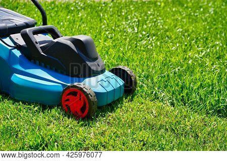 Lawnmower Electric Machine Trimming Green Grass. Lawn Cutting