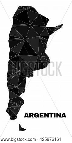 Low-poly Argentina Map. Polygonal Argentina Map Vector Is Combined With Randomized Triangles. Triang