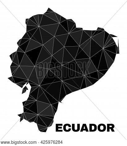 Low-poly Ecuador Map. Polygonal Ecuador Map Vector Is Combined From Random Triangles. Triangulated E