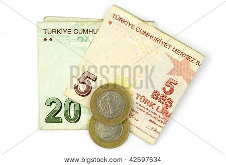 Turkish Lira Coins And Folded Notes