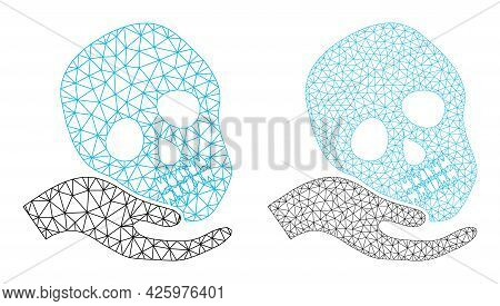 Mesh Vector Hand Holds Skull Icons. Mesh Wireframe Hand Holds Skull Images In Lowpoly Style With Con