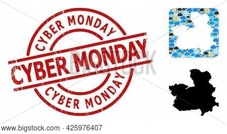Weather Mosaic Map Of Castile-la Mancha Province, And Distress Red Round Cyber Monday Stamp.