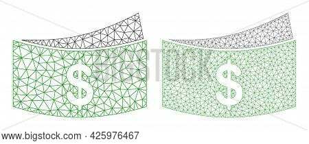 Mesh Vector Dollar Bills Icons. Mesh Wireframe Dollar Bills Images In Lowpoly Style With Connected T