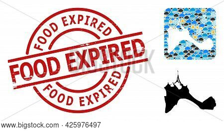 Weather Collage Map Of Formentera Island, And Rubber Red Round Food Expired Seal. Geographic Vector