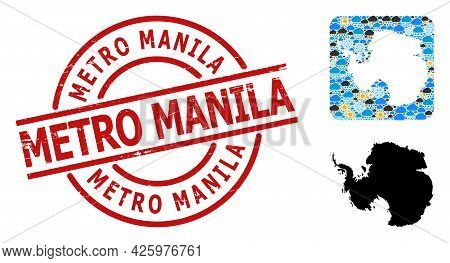 Weather Mosaic Map Of Antarctica, And Grunge Red Round Metro Manila Stamp Seal. Geographic Vector Co