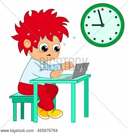 Funny Cartoon Boy Working At A Table With Laptop On White Background With Wall Clock. Project Deadli