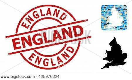 Weather Collage Map Of England, And Grunge Red Round England Badge. Geographic Vector Concept Map Of
