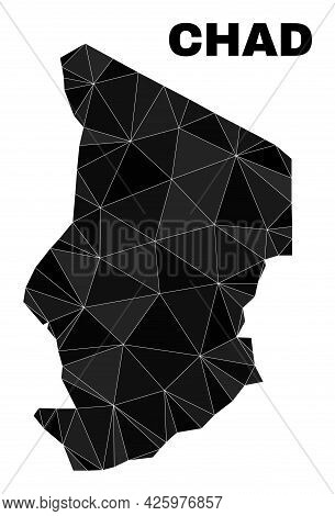 Lowpoly Chad Map. Polygonal Chad Map Vector Is Constructed With Scattered Triangles. Triangulated Ch