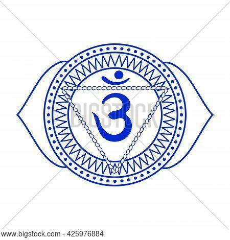 Line Drawing.the Sixth Chakra Is Ajna. Third Eye Chakra With Hindu Sanskrit. Blue Is A Flat Symbol O