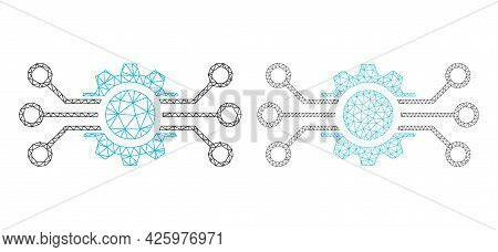 Polygonal Vector Gear Circuit Icons. Polygonal Carcass Gear Circuit Images In Low Poly Style With Co