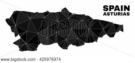 Lowpoly Asturias Province Map. Polygonal Asturias Province Map Vector Is Constructed Of Scattered Tr