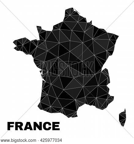Low-poly France Map. Polygonal France Map Vector Is Filled From Chaotic Triangles. Triangulated Fran