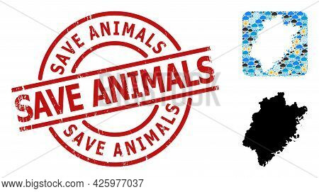 Climate Pattern Map Of Fujian Province, And Distress Red Round Save Animals Seal. Geographic Vector