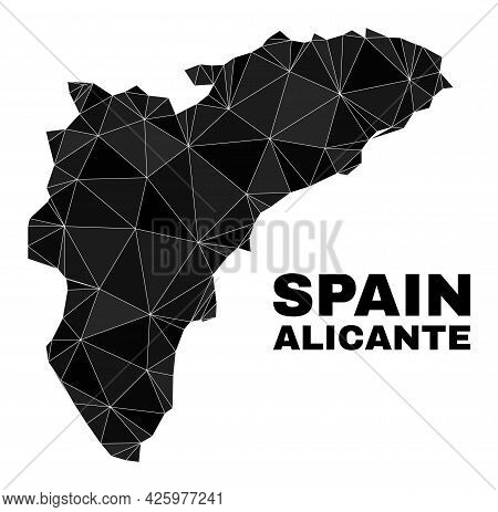 Lowpoly Alicante Province Map. Polygonal Alicante Province Map Vector Filled From Random Triangles.