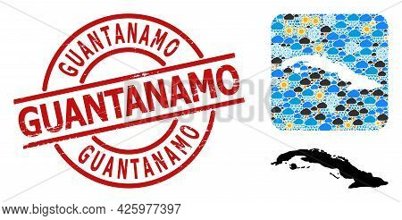 Climate Mosaic Map Of Cuba, And Textured Red Round Guantanamo Stamp Seal. Geographic Vector Mosaic M