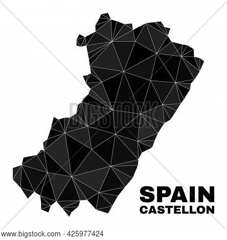 Low-poly Castellon Province Map. Polygonal Castellon Province Map Vector Combined With Chaotic Trian