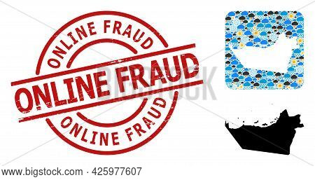 Climate Mosaic Map Of Abu Dhabi Emirate, And Grunge Red Round Online Fraud Stamp Seal. Geographic Ve