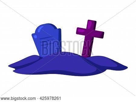 Cartoon Illustration Of Cemetery With Gravestone And Cross. Happy Halloween Celebration.