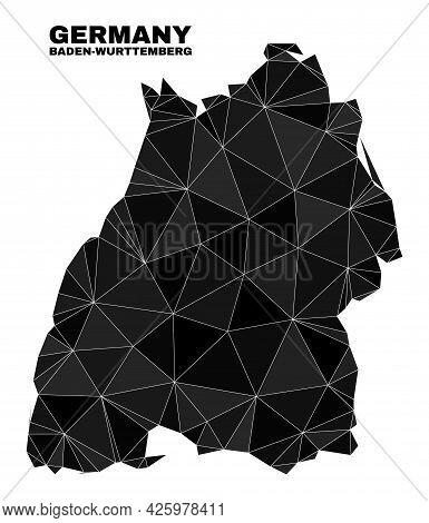 Lowpoly Baden-wurttemberg Land Map. Polygonal Baden-wurttemberg Land Map Vector Is Designed From Ran