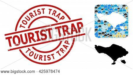 Weather Collage Map Of Bali Island, And Distress Red Round Tourist Trap Stamp Seal. Geographic Vecto