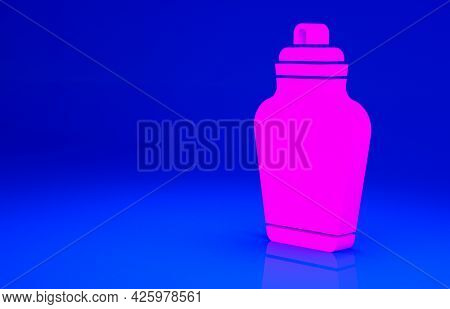 Pink Funeral Urn Icon Isolated On Blue Background. Cremation And Burial Containers, Columbarium Vase