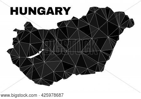 Low-poly Hungary Map. Polygonal Hungary Map Vector Designed With Randomized Triangles. Triangulated