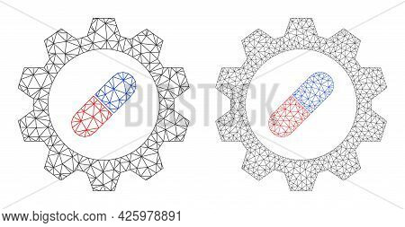 Mesh Vector Pharma Industry Icons. Mesh Carcass Pharma Industry Images In Low Poly Style With Combin