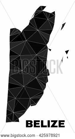 Lowpoly Belize Map. Polygonal Belize Map Vector Filled Of Scattered Triangles. Triangulated Belize M