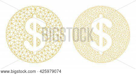 Mesh Vector Dollar Coin Icons. Mesh Wireframe Dollar Coin Images In Low Poly Style With Structured T