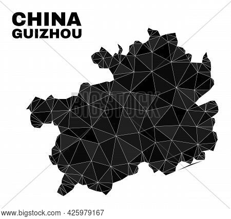 Lowpoly Guizhou Province Map. Polygonal Guizhou Province Map Vector Is Combined Of Scattered Triangl