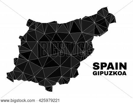 Lowpoly Gipuzkoa Province Map. Polygonal Gipuzkoa Province Map Vector Combined Of Random Triangles.