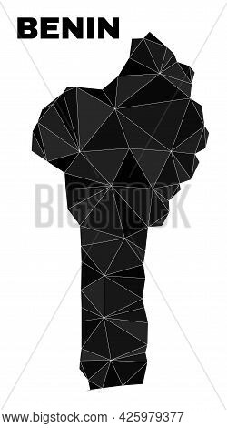 Low-poly Benin Map. Polygonal Benin Map Vector Filled From Randomized Triangles. Triangulated Benin