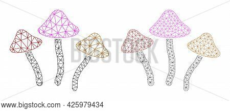 Mesh Vector Psychedelic Mushrooms Icons. Mesh Wireframe Psychedelic Mushrooms Images In Lowpoly Styl