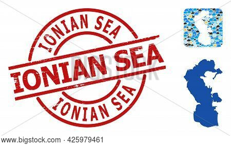 Weather Collage Map Of Caspian Sea, And Distress Red Round Ionian Sea Seal. Geographic Vector Collag