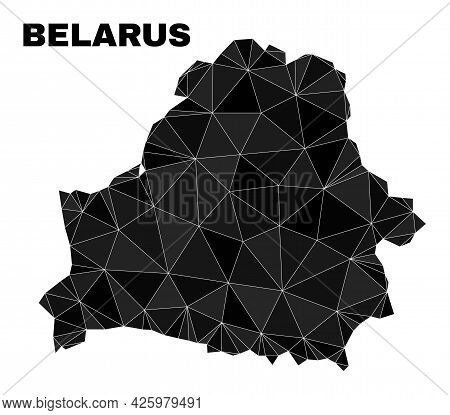 Lowpoly Belarus Map. Polygonal Belarus Map Vector Designed Of Chaotic Triangles. Triangulated Belaru